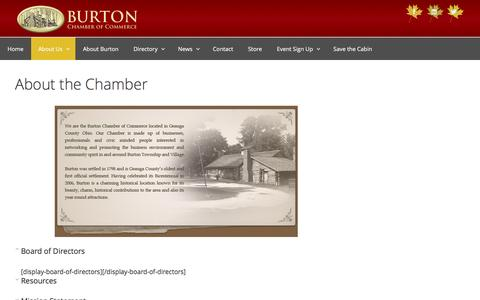 Screenshot of About Page burtonchamberofcommerce.org - About the Chamber – The Burton Chamber of Commerce - captured July 31, 2016