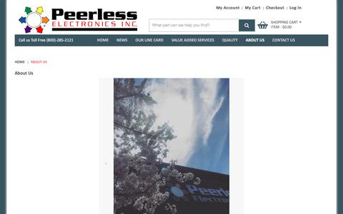 Screenshot of About Page peerlesselectronics.com - About Us  - Peerless Electronics Inc. - captured July 16, 2018