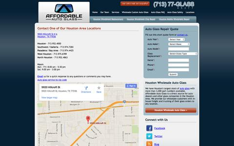 Screenshot of Contact Page Locations Page affordableautoglass.com - Contact Houston Auto Glass Replacement Specialists - Affordable Auto Glass - captured June 17, 2016