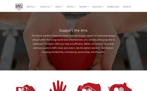 Screenshot of Support Page sbdac.com - Support - Sidney & Berne Davis Art Center | Fort Myers, FL - captured Oct. 19, 2018