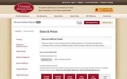 Screenshot of Pricing Page oattravel.com - Dates & Prices - captured Sept. 19, 2014