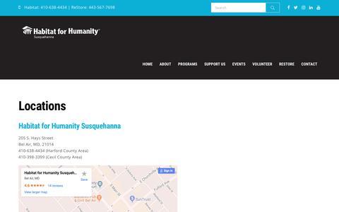 Screenshot of Locations Page habitatsusq.org - Locations – Habitat for Humanity, Susquehanna - captured Nov. 9, 2018