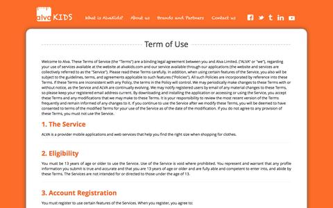 Screenshot of Terms Page alvakids.com - Terms of Use - captured Sept. 30, 2014