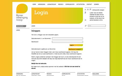 Screenshot of Login Page nvacp.nl - Login - NVACP - captured Sept. 30, 2014