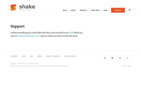Screenshot of Support Page shakelaw.com - Support - Shake | Free Legal Contracts - captured Sept. 17, 2014
