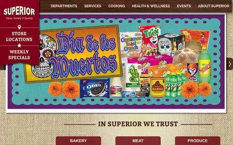 Screenshot of Home Page superiorgrocers.com - Superior Grocers | Welcome - captured Oct. 23, 2015