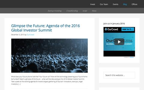 Screenshot of Blog ourcrowd.com - OurCrowd - A better way to invest in startups. - captured Dec. 3, 2015