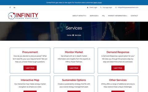 Screenshot of Services Page infinitypowerpartners.com - Energy at the Best Price | Our Energy Consulting Services - captured Nov. 26, 2016