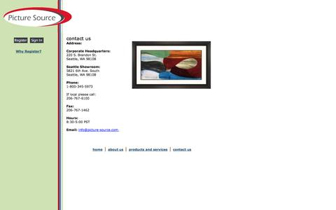 Screenshot of Contact Page picture-source.com - Picture Source - THE Source for Quality Art - captured Sept. 29, 2014
