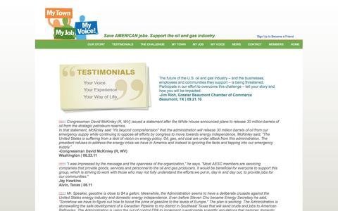 Screenshot of Testimonials Page mytownmyjobmyvoice.org - Testimonials - captured Oct. 26, 2014