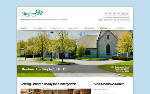 Screenshot of Locations Page meadowsacademy.org - Meadows Academy in Dublin, Ohio | Meadows Academy Preschool & Childcare - captured Oct. 17, 2018