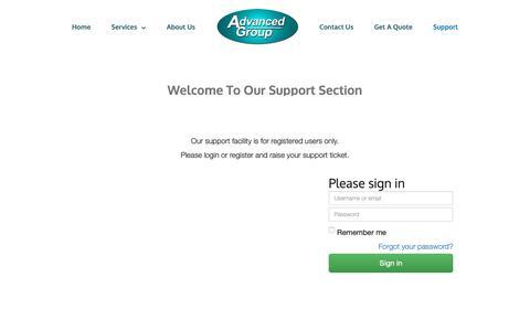 Screenshot of Support Page advgp.com - Support - Advanced Group - captured Nov. 12, 2018