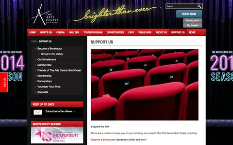 Screenshot of Support Page theartscentregc.com.au - Support Us - Become and Benefactor or Supporter - captured Oct. 7, 2014