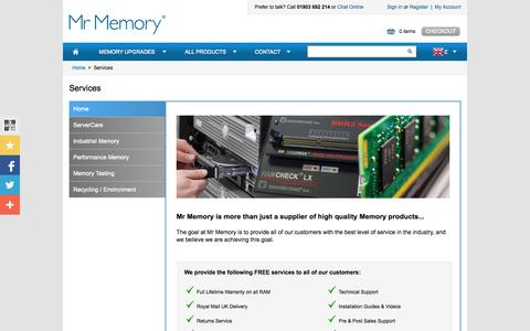 Screenshot of Services Page mrmemory.co.uk - Mr Memory® provides a range of FREE Services with all orders - captured Sept. 19, 2014