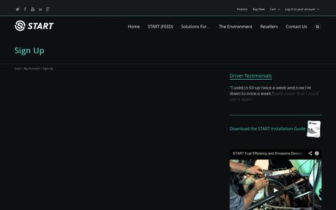Screenshot of Signup Page startfuelsavings.com - Sign Up | Start - captured Oct. 7, 2014