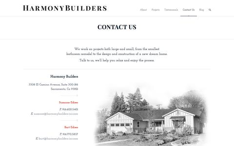 Screenshot of Contact Page harmonybuilders-inc.com - Harmony Builders, Inc. |   Contact Us - captured Sept. 29, 2014