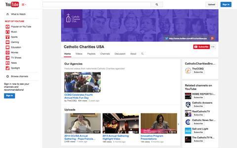 Screenshot of YouTube Page youtube.com - Catholic Charities USA  - YouTube - captured Oct. 22, 2014
