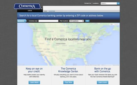 Screenshot of Locations Page comerica.com - Find a Comerica location near you. | Comerica - captured Dec. 1, 2015