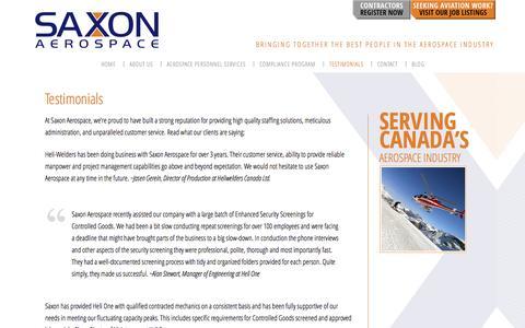 Screenshot of Testimonials Page saxonaerospace.com - Testimonials - Saxon Aerospace Inc. - captured Sept. 30, 2014
