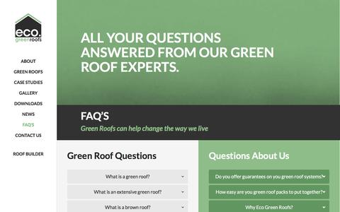 Screenshot of FAQ Page ecogreenroofs.co.uk - Frequently Asked Questions | Eco Green Roof - captured Jan. 25, 2016