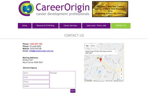 Screenshot of Contact Page careerorigin.com.au - Career Origin - Contact Us - captured Dec. 30, 2016