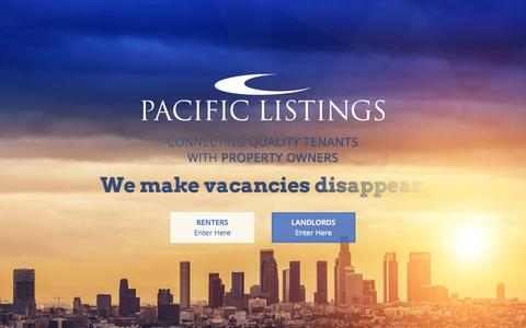 Screenshot of Home Page pacificlistings.com - Pacific Listings | Southern California Apartment Rentals - captured Sept. 23, 2014