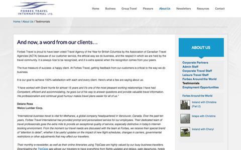 Screenshot of Testimonials Page forbes-travel.com - Testimonials - Forbes Travel - captured Oct. 6, 2014