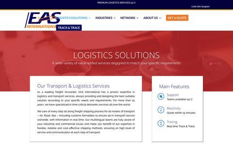 Screenshot of Support Page eas-intl.com - Logistics Solutions   EAS International - captured Oct. 3, 2016