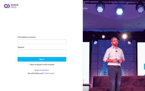 Screenshot of Login Page quickbase.com - Sign In - captured Feb. 2, 2020