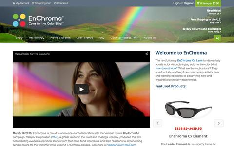Screenshot of Home Page enchroma.com - EnChroma | Color For The Color Blind - captured Sept. 7, 2015