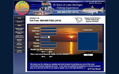 Screenshot of Contact Page fishalgoma.com - Haasch Guide Service, Algoma fishing charter, Algoma fishing services, Lake Michigan fishing, lake Michigan charter, fishing charter - captured Oct. 1, 2014