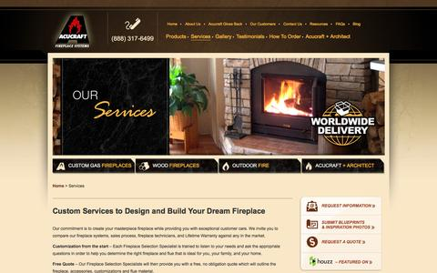 Screenshot of Services Page acucraft.com - Custom Fireplace Design Services. Free Quote on Your Custom-Designed Fireplace - captured Nov. 20, 2016