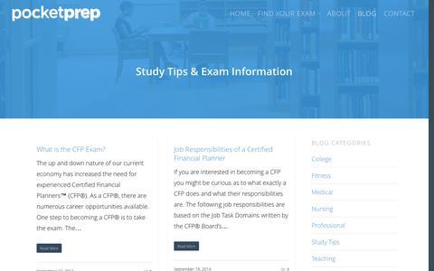 Screenshot of Blog pocket-prep.com - Study Tips | Test Prep Studying | Certification Exams - captured Sept. 30, 2014