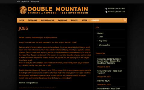 Screenshot of Jobs Page doublemountainbrewery.com - Jobs - Double Mountain Brewery & Taproom - captured Oct. 9, 2018