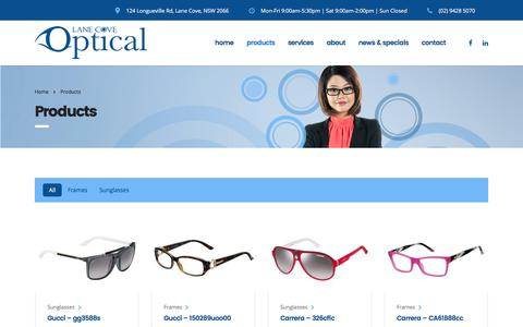 Screenshot of Products Page lanecoveoptical.com.au - Products - Contact Lenses, Spectacles and Prescription Sunglasses - captured May 14, 2017
