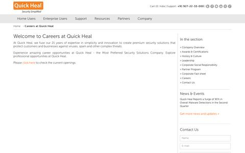 Screenshot of Jobs Page quickheal.co.in - Careers at Quick Heal - captured Sept. 17, 2014