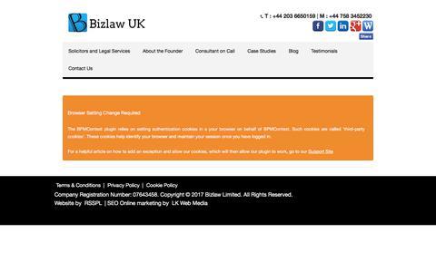 Screenshot of Login Page bizlawuk.co.uk - Bizlaw UK - captured Aug. 2, 2018