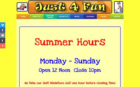 Screenshot of Hours Page just4fun-recreation.com - HOURS - captured June 23, 2016
