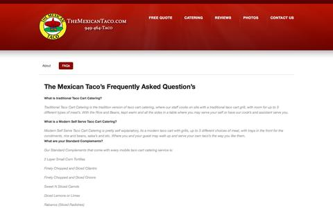 Screenshot of FAQ Page themexicantaco.com - FAQs | The Mexican Taco Catering | Orange County | Los Angeles - captured Nov. 10, 2017