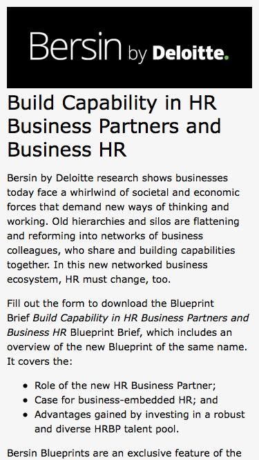 Build Capability in HR Business Partners and Business HR