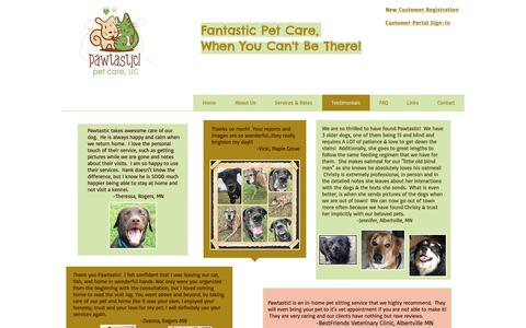 Screenshot of Testimonials Page pawtasticmn.com - Pawtastic! Pet Care, LLC - Testimonials - captured Oct. 28, 2016