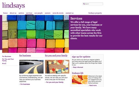 Screenshot of Services Page lindsays.co.uk - Legal Services for Families and Businesses in Scotland — Lindsays - captured Sept. 22, 2014