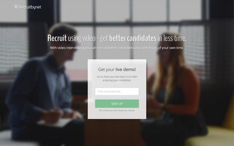 Screenshot of Landing Page recruitby.net - Sign up for a live demo - Recruitby.net - captured Dec. 9, 2015