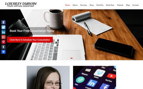 Screenshot of Home Page loisrileydurham.com - Lois Riley Durham | Your Virtual Assistant - captured Sept. 25, 2018