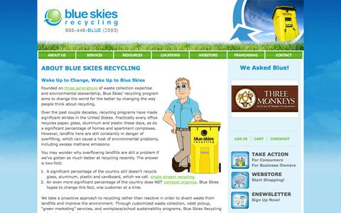 Screenshot of About Page blueskiesrecycling.com - Our Recycling Program | About | Blue Skies Recycling - captured Sept. 30, 2014