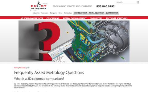 Screenshot of FAQ Page exactmetrology.com - Frequently Asked Metrology Questions - captured Sept. 29, 2018