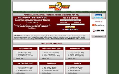 Screenshot of Home Page who2start.com - Who2Start.com - Personalized Fantasy Football Advice Answered for You - captured Oct. 7, 2014