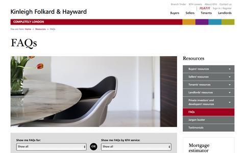 Screenshot of FAQ Page kfh.co.uk - London Property FAQs - captured Jan. 16, 2016