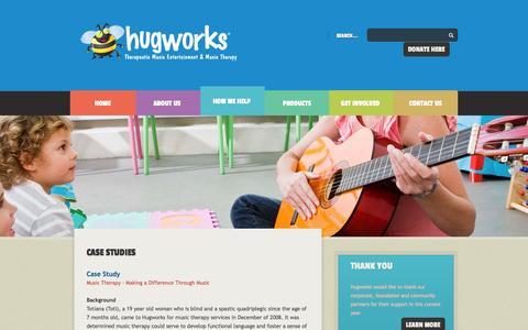 Screenshot of Case Studies Page hugworks.org - Helping children through music - Hugworks - captured Sept. 30, 2014