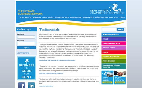 Screenshot of Testimonials Page kentinvictachamber.co.uk - Testimonials | Kent Invicta Chamber of Commerce - captured Oct. 3, 2014